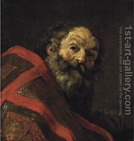 Figure Of A Bearded Man, Head And Shoulders, Wearing A Cope, Possibly One Of The Four Fathers Of The Church by Claude Vignon - Reproduction Oil Painting