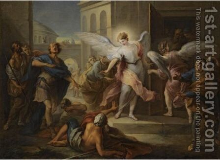 The Blinding Of The Inhabitants Of Sodom by Carle van Loo - Reproduction Oil Painting