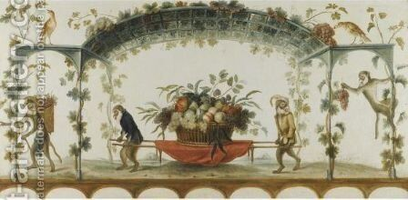 The Monkey Harvest by (after) Jean-Baptiste Pillement - Reproduction Oil Painting