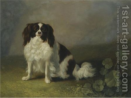 A King Charles Spaniel In A Landscape by Jakob Philippe Hackert - Reproduction Oil Painting