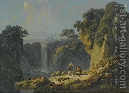 A Landscape With Peasants Resting Their Flock Beside A Waterfall by Jean-Baptiste Pillement - Reproduction Oil Painting