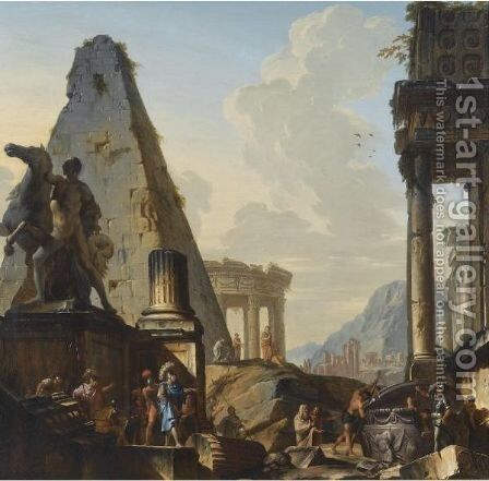 Capriccio Of Classical Ruins With Alexander The Great Opening The Tomb Of Achilles by Giovanni Niccolo Servandoni - Reproduction Oil Painting