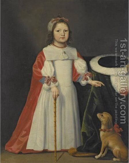 Portrait Of A Boy With A Dog by Cornelis I Johnson - Reproduction Oil Painting