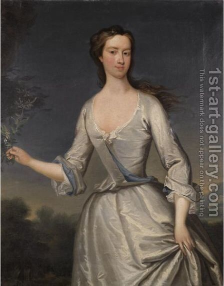 Portrait Of Henrietta (D.1776), Wife Of Thomas Pelham-Holles by Charles Jervas - Reproduction Oil Painting