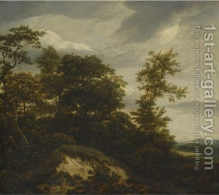 A Wooded Dune Landscape by Jacob Van Ruisdael - Reproduction Oil Painting