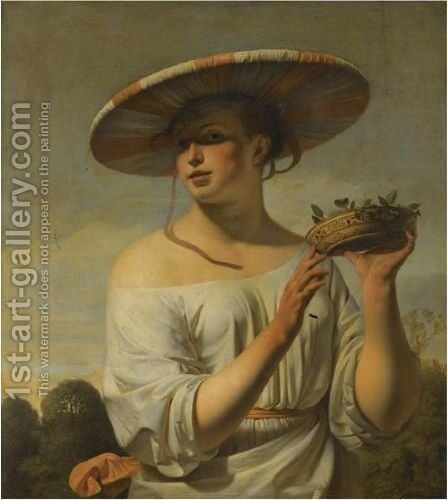 Girl Holding A Basket Of Plums by Caesar Van Everdingen - Reproduction Oil Painting