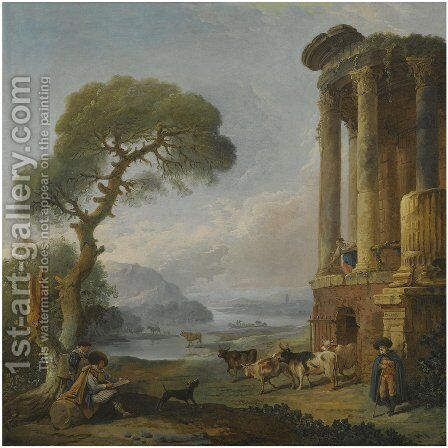 A River Landscape With An Artist Sketching Beneath A Ruined Temple, Possibly The Temple Of The Sibyl At Tivoli by Hubert Robert - Reproduction Oil Painting
