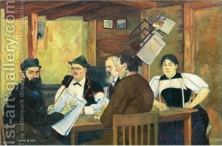 Brienzer Bauern In Wirtsstube Peasants From Brienz In A Tavern Room by Max Buri - Reproduction Oil Painting