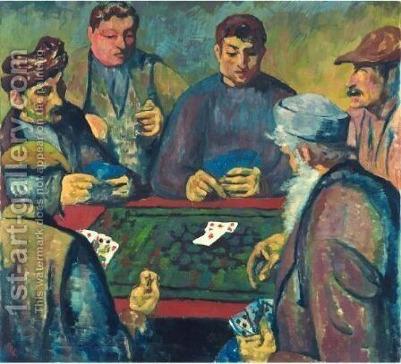 The Card Players by Giovanni Giacometti - Reproduction Oil Painting