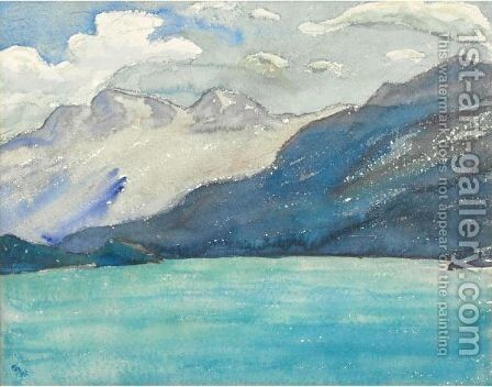 Lake Sils With View At Corvatsch by Giovanni Giacometti - Reproduction Oil Painting