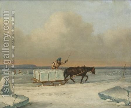 The Ice Cutters On The St. Lawrence At Longueuil by Cornelius Krieghoff - Reproduction Oil Painting