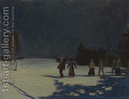 Snowshoeing By Moonlight by James Edward Hervey MacDonald - Reproduction Oil Painting