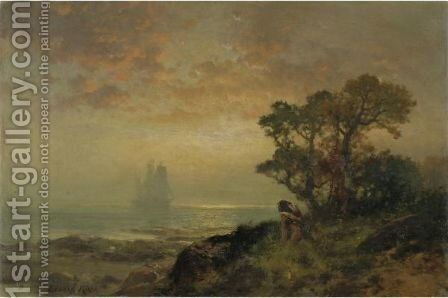 The First Ship Entering Ny Harbor, Sept. 11, 1609 by Edward Moran - Reproduction Oil Painting