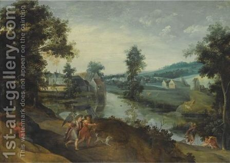A Wooded Landscape With Scenes From The Story Of Tobias And The Angel by Claes Dircksz. Van Der Heck - Reproduction Oil Painting
