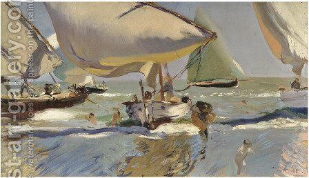 Boats On The Shore by Joaquin Sorolla y Bastida - Reproduction Oil Painting