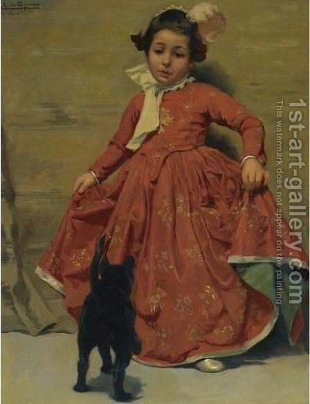 Girl Dancing For Her Cat by Andres (Comte) Parlade y Heredia - Reproduction Oil Painting
