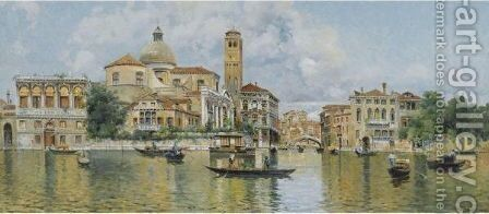 San Geremia And The Palazzo Labia From The Grand Canal by Antonio Maria de Reyna - Reproduction Oil Painting