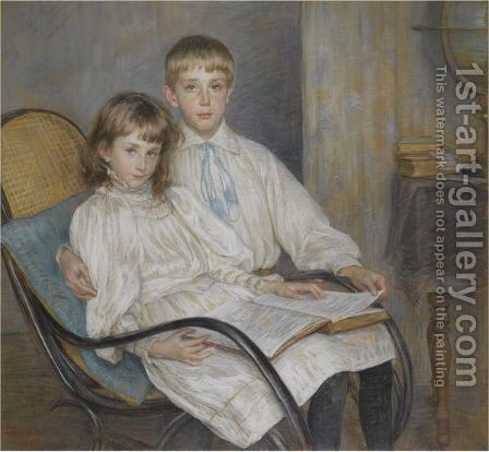 Enfants Assis by Marie Louise Catherine Breslau - Reproduction Oil Painting