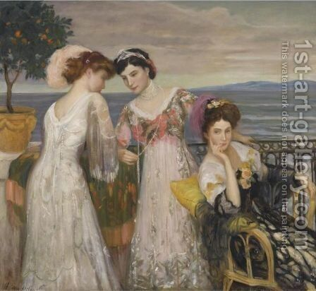 Le Beau Monde, Biarritz by Henry Caro-Delvaille - Reproduction Oil Painting