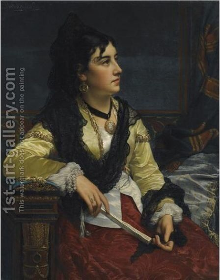 Girl With Mantilla by Jan Frederik Pieter Portielje - Reproduction Oil Painting