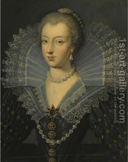 Portrait Of A Lady In An Ornate Black Dress With A Lace Ruff by (after) Frans, The Elder Pourbus - Reproduction Oil Painting