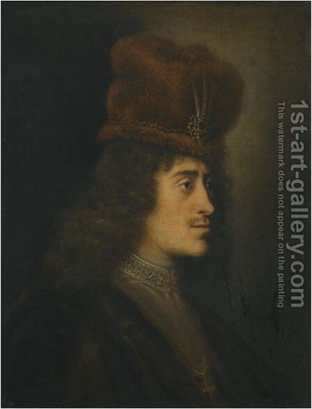 A Tronie Of A Man In A Red Hat by (after) Salomon Koninck - Reproduction Oil Painting
