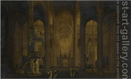 Two Views Of The Interior Of Amiens Cathedral by (after) Johann Ludwig Ernst Morgenstern - Reproduction Oil Painting