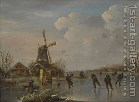 A Winter Landscape With Figures Skating by (after) Andries Vermeulen - Reproduction Oil Painting