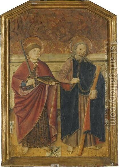 A Pair Of Male Saints, Possible St Gervase And St Protase by Spanish School - Reproduction Oil Painting