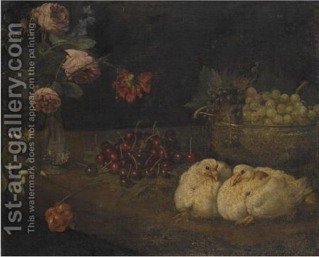 A Still Life With Grapes In A Bowl, Cherries, Roses In A Vase And A Pair Of Doves, All On A Table by (after) Felice Boselli - Reproduction Oil Painting