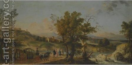 An Elegant Carriage Party Halts On The Via Lauretana, With A Veiw Of Loreto In The Background by Giovanni Battista Tiepolo - Reproduction Oil Painting
