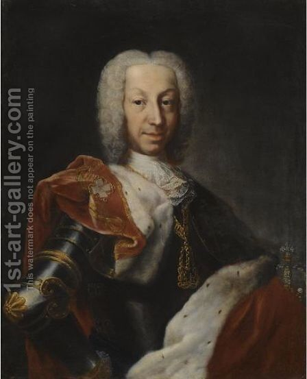 Portrait Of A Member Of The House Of Savoy In Armour With A Red Velvet And Ermine Cloak Wearing The Order Of The Annunciata by Domenico Dupra - Reproduction Oil Painting
