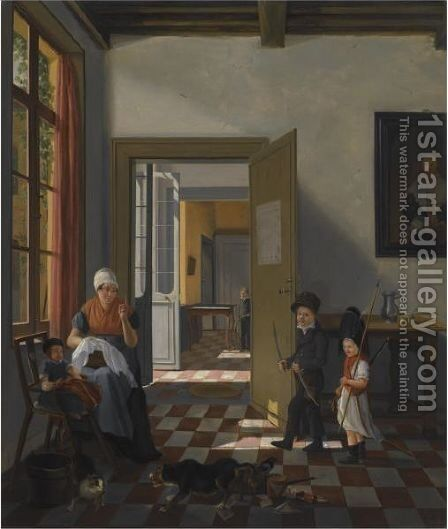 An Interior With A Woman Sewing, A Baby And Two Children Dressed Up As Soldiers by Abraham van, I Strij - Reproduction Oil Painting