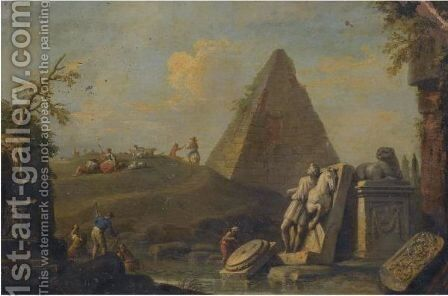 A Capriccio Landscape With The Pyramid Of Mucius Scaevola And Fishermen Drawing In Their Nets From A Stream by Giuseppe Zocchi - Reproduction Oil Painting
