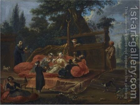 A Sultana And Her Attendants by (after) Jean Baptiste Vanmour - Reproduction Oil Painting