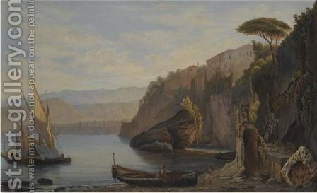 A Sailing Boat Moored Of The Amalfi Coast by Alfred Von Ernst - Reproduction Oil Painting