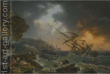 A Storm At Sea With A Shipwreck Off The Coast And Drowning Figures In The Foreground by Jean Francois Foucher - Reproduction Oil Painting