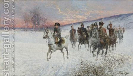 Napoleon And Officers Crossing A Snowy Field by Jan van Chelminski - Reproduction Oil Painting