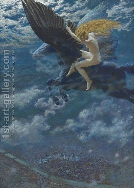 Dream Idyll (A Valkyrie) by Edward Robert Hughes R.W.S. - Reproduction Oil Painting