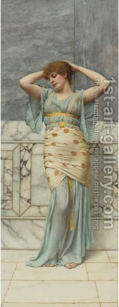 Beauty In A Marble Room by John William Godward - Reproduction Oil Painting