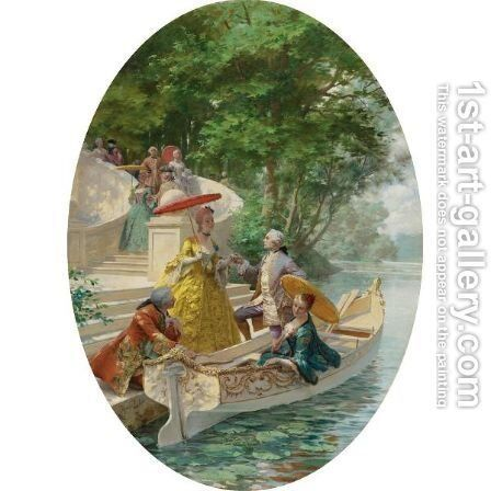 The Boating Party by Maurice Leloir - Reproduction Oil Painting