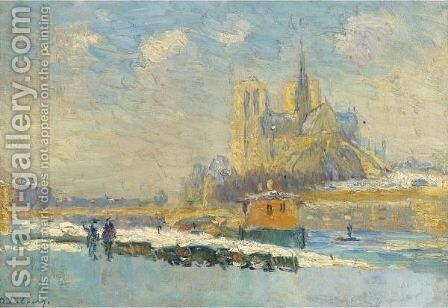 Notre-Dame De Paris Et Le Quai De La Tournelle 2 by Albert Lebourg - Reproduction Oil Painting