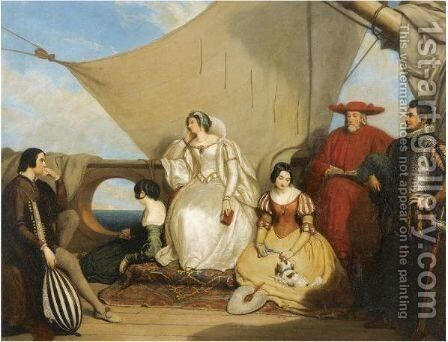 Mary Queen Of Scots' Farewell To France by Charles Robert Leslie - Reproduction Oil Painting