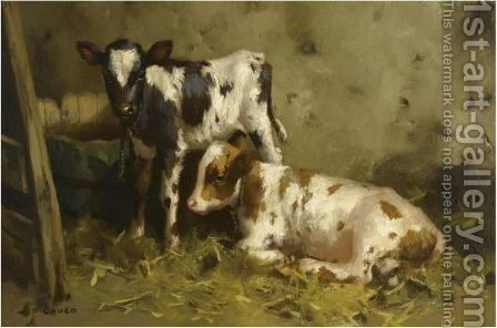 Ayrshire Calves 3 by David Gauld - Reproduction Oil Painting