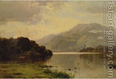 A View Across The Hudson by Arthur Parton - Reproduction Oil Painting