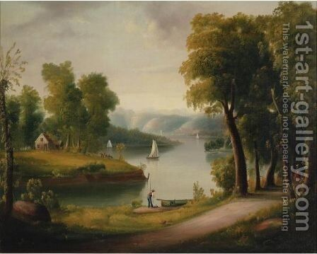 Along The Hudson River by American School - Reproduction Oil Painting
