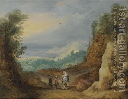 An Extensive Rocky Landscape With Two Monks And A Horseman In The Foreground by (after) Joos De Momper - Reproduction Oil Painting