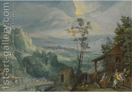 An Extensive Landscape With Villagers In The Foreground by Anton Mirou - Reproduction Oil Painting