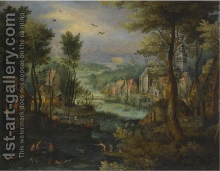 A River Landscape With Figures Bathing And A Village Beyond by (after) Jan The Elder Brueghel - Reproduction Oil Painting