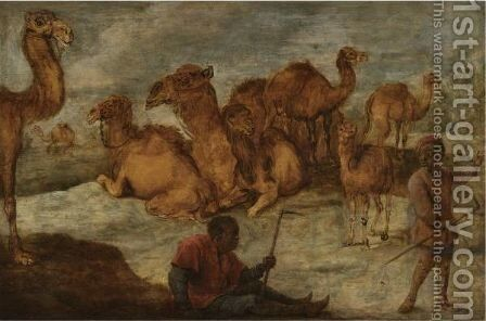 A Landscape With Camels And Two Black Figures by Belgian Unknown Masters - Reproduction Oil Painting